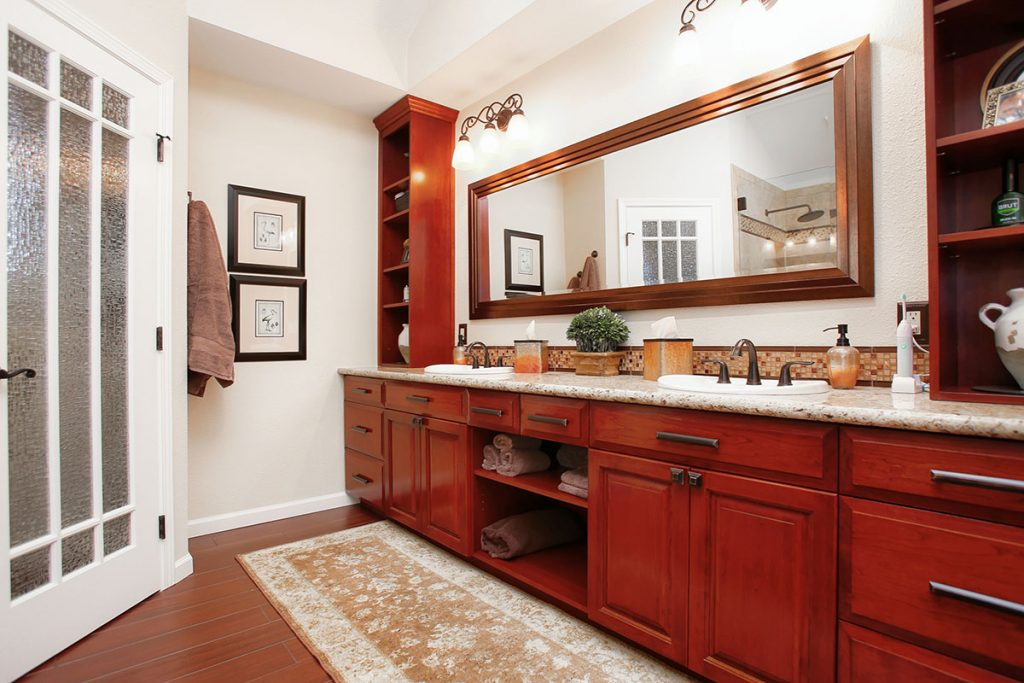 Stunning and spacious his and hers bathroom vanity.