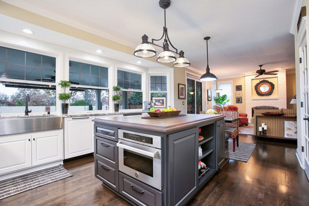 A secondary oven built into a kitchen island makes cooking and entertaining more functional and enjoyable.
