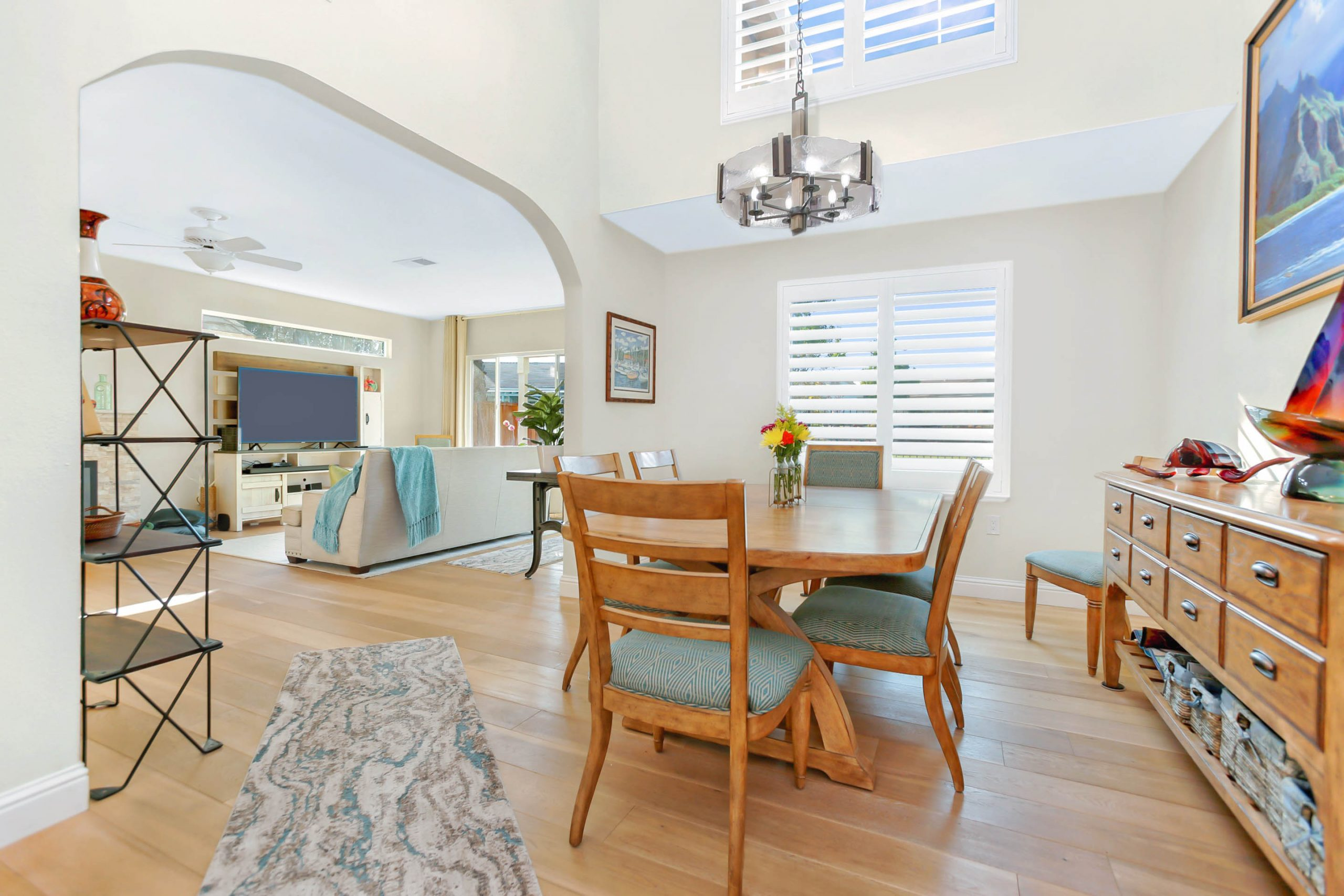 The expanded family room and dining room have dramatically changed entertaining in this home.