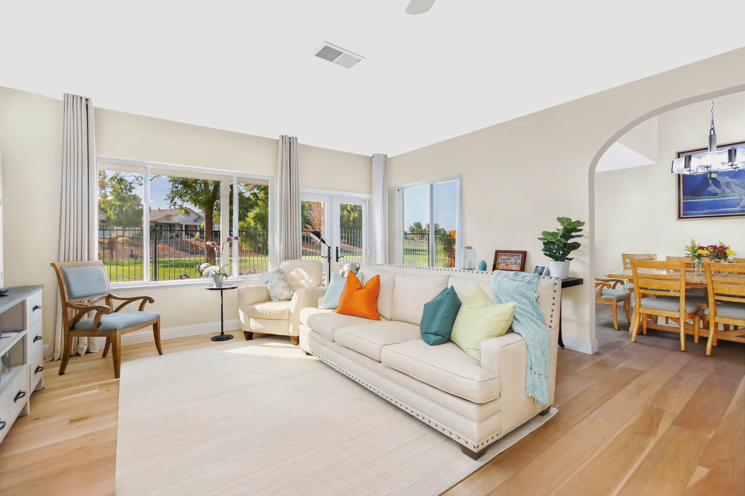 The 7-foot expansion to this family room gives the homeowner more natural light and a better view of their golf course.