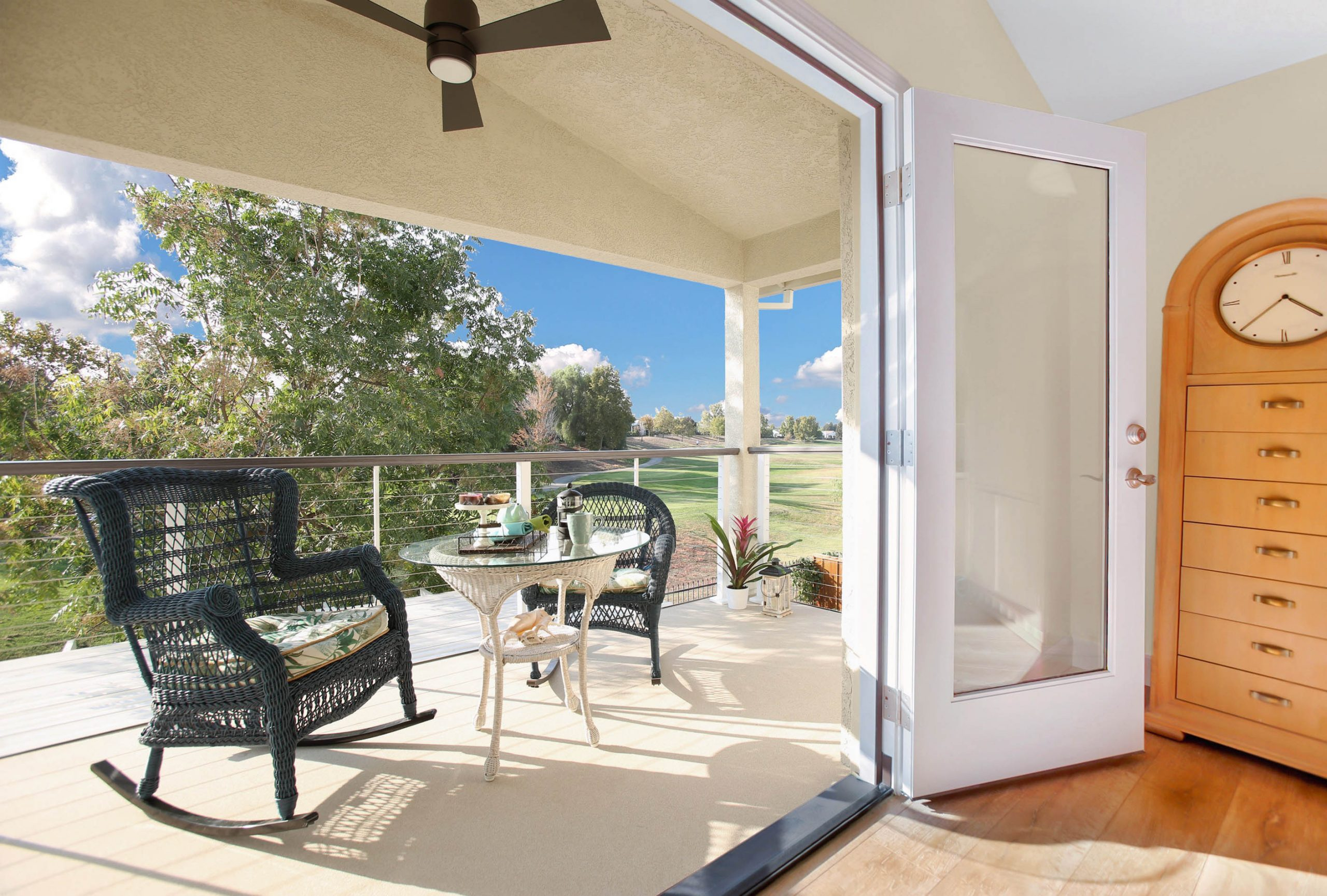 A 7-foot bump out to the family room on the first floor provided a perfect location for a balcony off the master suit with an excellent view of the golf course and mountains beyond.
