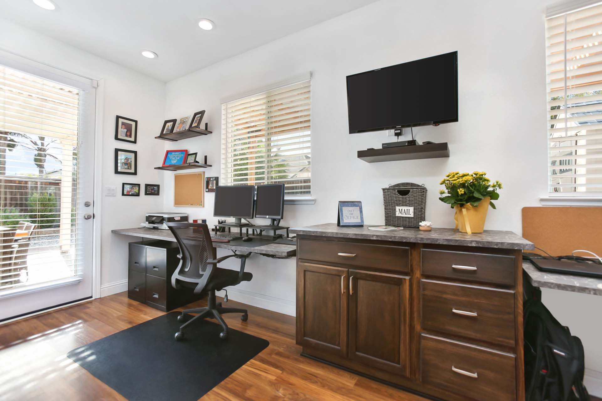 Working from home is comfortable and efficient with this home office addition.